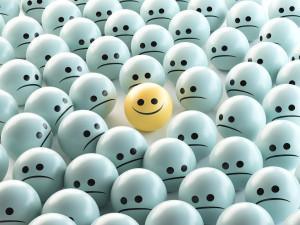 Faccia felice tra tristi o invidiose 3d render