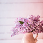 Bouquet of lilacs on wooden background